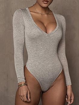 Simple Style Pure Color Plain Long Sleeve Bodysuit