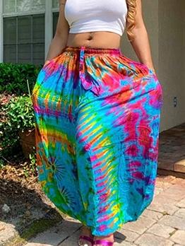 Multicolored Tie Dye Summer Loose Wide Leg Pants