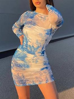 Crew Neck Tie Dye Long Sleeve Short Dress