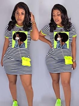 Printed Stripe Short Sleeve Casual Dresses