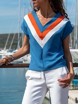 Chic Contrast Color Loose v Neck t Shirts