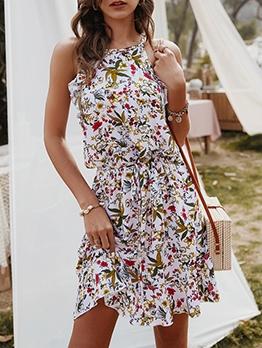 Smart Waist Sleeveless Floral Short Dress