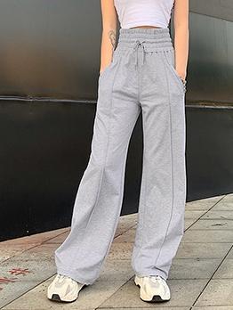 Straight Legs Plain Gray High Waist Casual Pants