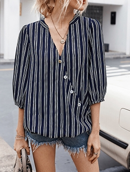 Single-Breasted V Neck Striped Ladies Blouse