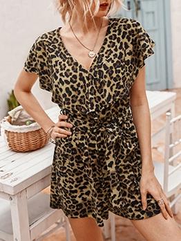 V Neck Tie-Wrap Short Sleeve Leopard Romper
