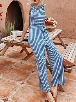 Tie-Wrap Sleeveless Striped Wide Leg Jumpsuit