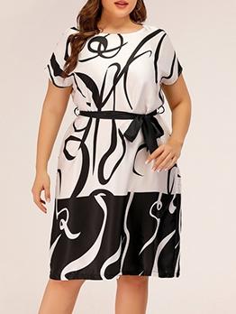 Euro Print Short Sleeve Plus Size Dress For Work
