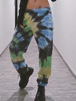Mixed Color Tie Dye Elastic Waist Jogger Pants