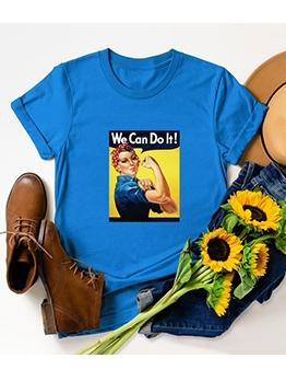 Creative Printing Short Sleeve Crew Neck T Shirt