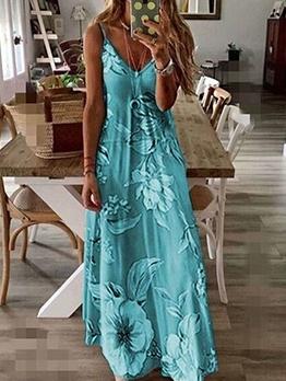 V Neck Spaghetti Strap Floral Maxi Dress