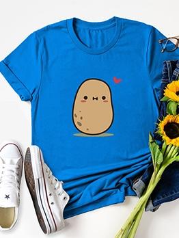 Potato Pattern Plus Size Crew Neck T Shirt