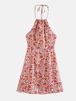Retro Printed Open Back Halter Dress