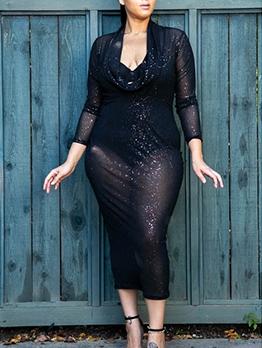 Sexy V Neck Plus Size Black Long Sleeve Maxi Dress