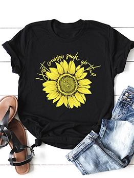 Sunflower Print Short Sleeve Cotton Tee Shirts