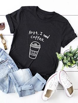 Summer Letter Printed Women Tee Shirt Plus Size
