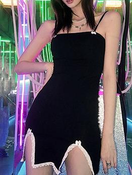 Lace Patch Sleeveless Black Mini Dress