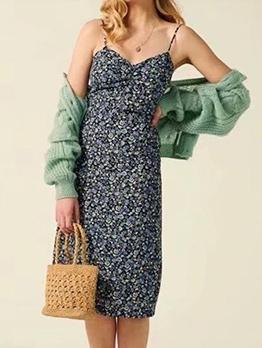 Vintage Ditsy Printed Slip One Piece Dress