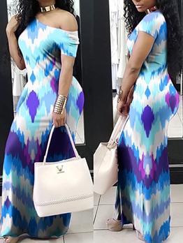 Gradient Color Short Sleeve Summer Maxi Dresses