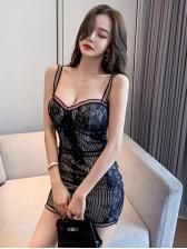 Sexy Low-Cut Sleeveless Black Lace Dress