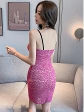 Low-Cut Sleeveless Bodycon Lace Mini Dress