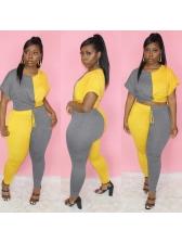 Contrast Color Short Sleeve Two Piece Pants Set Casual