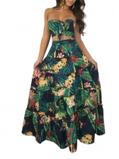 Vacation Style Print Strapless Cami With Maxi Skirt