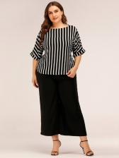 Plus Size Striped Tee With Wide Leg Pants
