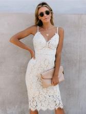 Fashion V Neck Fitted Sleeveless Lace Dress