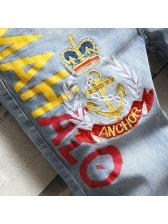 Letter Print Embroidery Half Denim Jeans