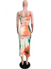Tie Dye Sleeveless Crop Top And Skirt Set