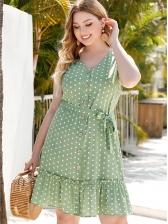 Polka Dots Wrap v Neck Summer Dresses