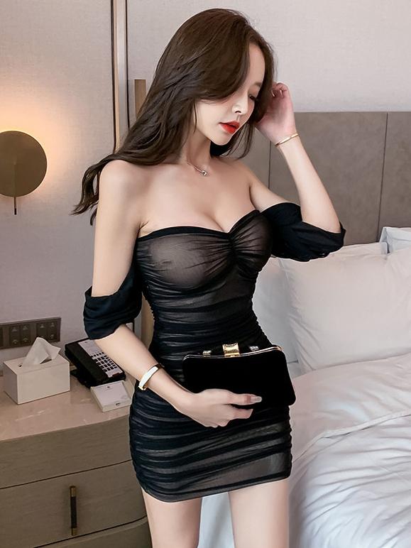 Sexy Off Shoulder Black See Through Club Dress