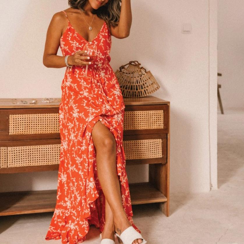 Ruffled Irregular Hem Sleeveless Summer Maxi Dresses