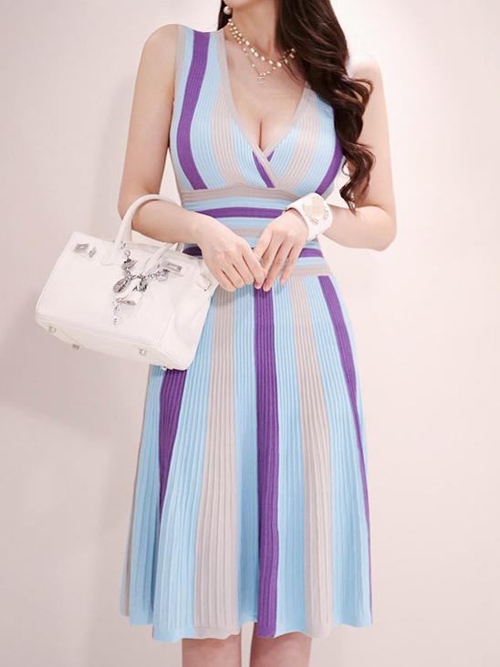 V Neck Contrast Color Knit Ladies Dress