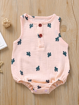 Simple Print Sleeveless Newborn Baby Rompers