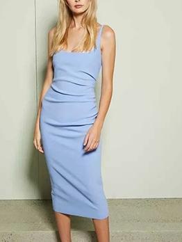 U Neck Pure Color Summer Pleated Sleeveless Dress