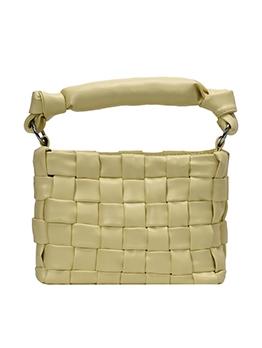 Knot Handle Pure Color Pu Woven Ladies Handbags