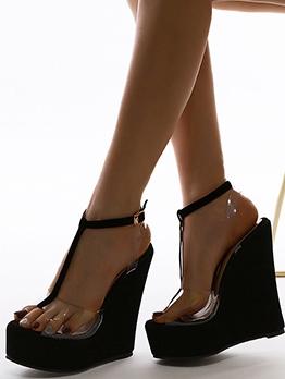 Peep-Toe Patchwork Women Wedge Sandals