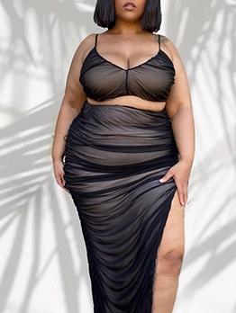 Sexy High Split Hem Black Plus Size Women Sets