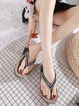 Rhinestone Patchwork Women Flip Flop Slippers