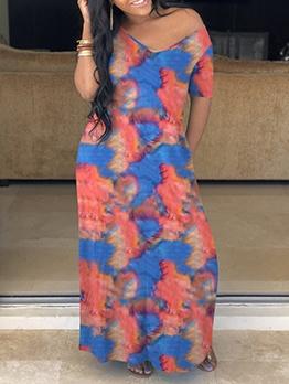 Casual V Neck Short Sleeve Tie Dye Maxi Dress