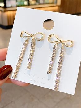 Bowknot Shape Tiny Rhinestone Tassel Women Earrings