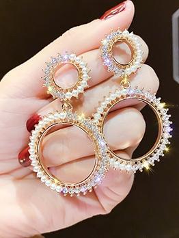Small Faux Pearls Glitter Rhinestone Circle Drop Earrings