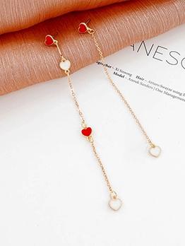 Sweet Style Asymmetrical Length Heart Chain Earrings