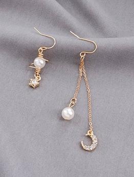 Asymmetrical Design Star Crescent Pendant Earrings