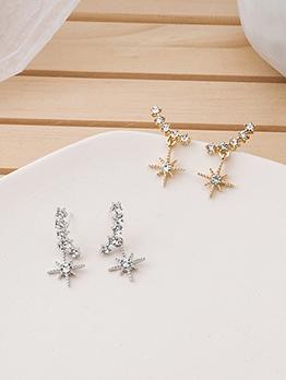 Shiny Tiny Rhinestone Star Women Stud Earrings