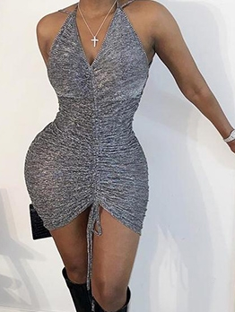 Sexy Drawstring Slip Bodycon Dress