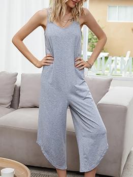 Leisure Pure Color Slip Jumpsuits For Women