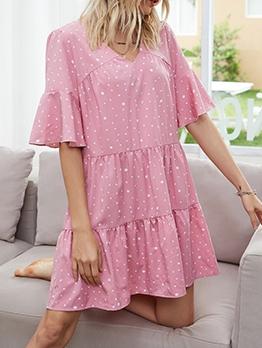 Casual v Neck Dots Short Sleeve Dress