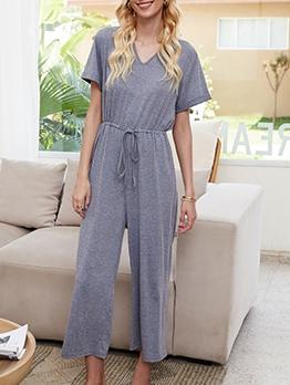 Leisure Solid Loungewear Short Sleeve Jumpsuit
